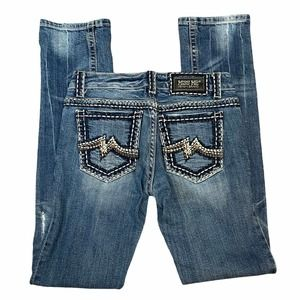 Miss Me Sunny Straight Dark Wash Low Rise Jeans